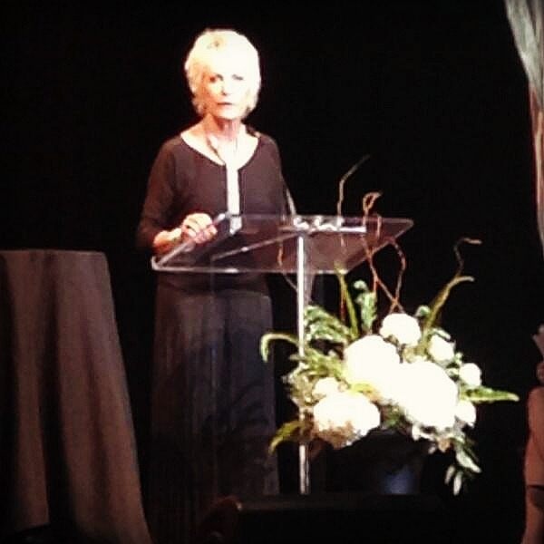 Kim Shepherd delivers her acceptance speech