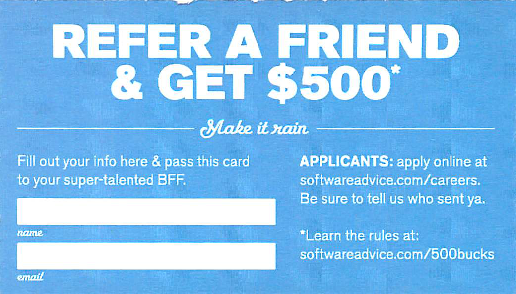 Software Advice referral card back