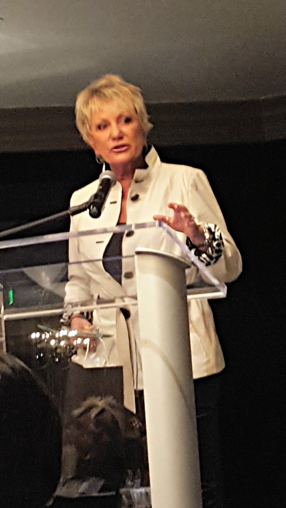 Kim Shepherd accepting her award